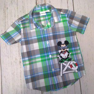 ❤️3 for $15 ❤️ Mickey Mouse Plaid Toddler Shirt 3T